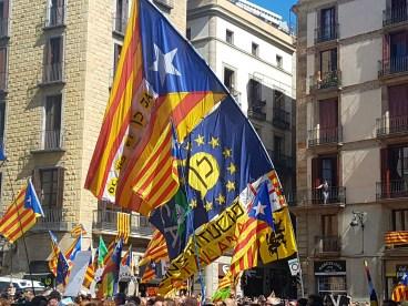 Banderas esteladas y de la Unión Europea durante una manifestación en la Plaza del Ayuntamiento de Barcelona / Pilar Suárez